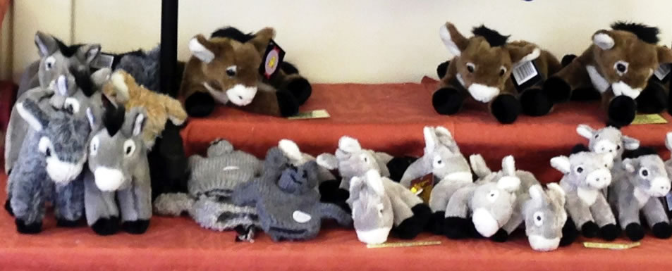 Soft toy donkeys and donkey hand puppets