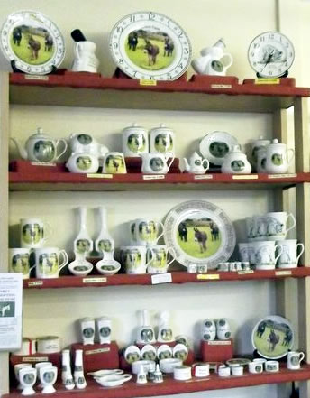Ceramic gift items in the Island Farm Donkey Sanctuary Shop