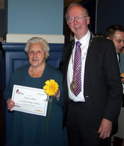 Mrs Florence Galliford received an OCVA Voluteer Award at Oxford Town Hall.