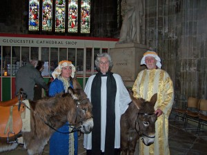 (l-r) Jack, Linda Chilton, The Reverend Celia Carter MBE, Chocolate and John McLaren
